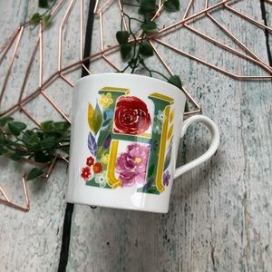 Other - 3/$25 Monogram H floral mug green pink coffee cup